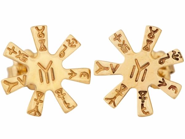 Обици - Розета от Плиска – злато 14 карата – около 2 грама – диаметър: 14 мм